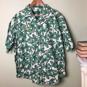 Orvis Fly Fishing Shirt Green Floral Short Sleeve